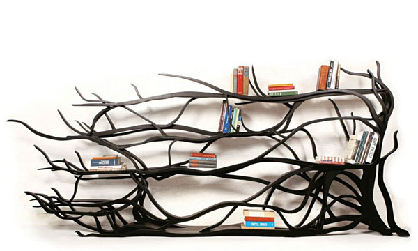 Tree branch bookshelf designed by Sebastian Errazuriz