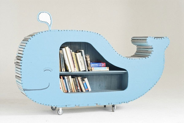 Whale bookshelf, designed by Justin Southey