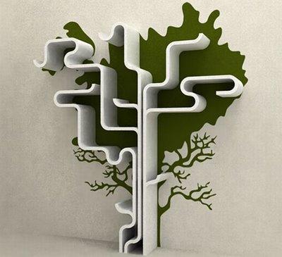 abstract tree bookshelf